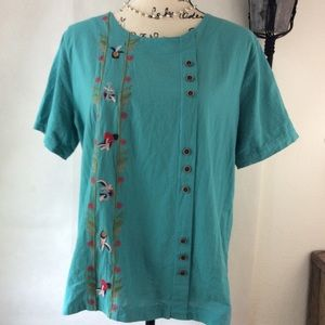 Teal Boho Floral Embroidered Short Sleeve Top XL